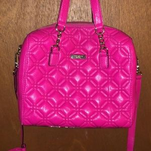 KATE SPADE Dark Pink Cow Leather Purse with Quilt